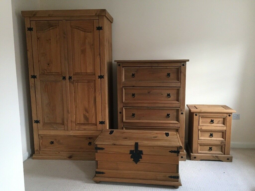 Corona Mexican Pine Furniture Set Wardrobe Drawers