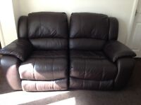 Brown leather reclining suite 2 and 3 seaters