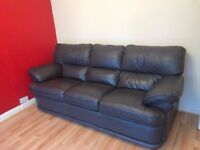 mint condition leather sofa, book shelf and trampoline for sale