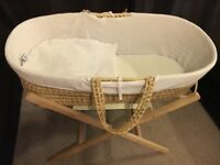 Moses basket with stand and mothercare hypoallergenic mattress