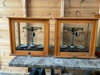 Hand made wood & glass cabinets