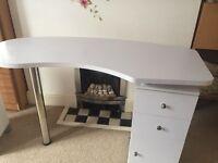 Nail technician table, 2 chairs, LED lamp, small wardrobe