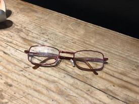 Foldable copper rose gold glasses frames in case