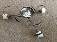 Ceiling light, 3 lamps, flower/leaf design