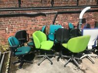 20 second hand office chairs. Need refurb. various colours. Can deliver