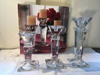Crystal Glass Candle Holders. Set of 3.