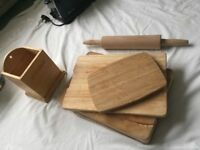 Assorted wooden kitchen accessories
