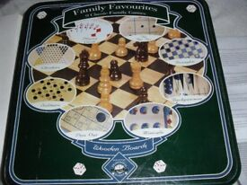 FAMILY FAVOURITES 9 CLASSIC GAMES WITH WOODEN BOARDS IN LOVELY TIN FROM DEBENHAMS - IDEAL PRESENT