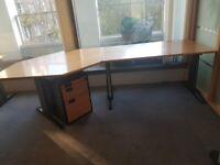 Octagonal L-shaped golden oak table/desk wood finish