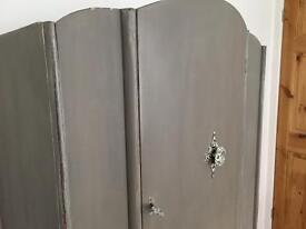 Vintage compact single wardrobe chalk painted in Annie Sloan French linen