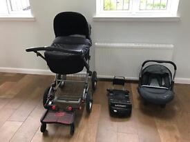 Silvercross Sleepover Pram, infant car seat and isofix base.