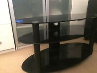Black Three-Shelf Glass TV Stand in Immaculate Condition