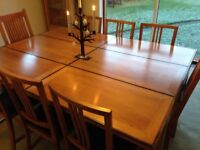 Dining table and 8 chairs. Solid wood, three size options. Barker and stonehouse.
