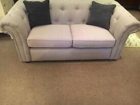 DFS Ex Display Cream Fabric Chesterfield Sofa - UK Delivery