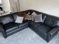 Black leather Sofology 5 seater corner sofa