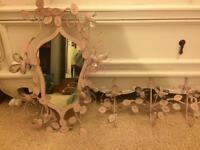 Pretty mirror and coat hooks