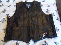 SKINTAN Men's Real Leather Motorcycle Biker Waistcoat Vest Black 4XL