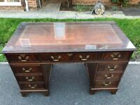 Chesterfield style Twin Pedestal Writing Desk with Brown Leather Top Inlay & Glass Cover