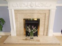 White Adam style fireplace surround and marble insert with hearth