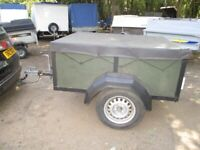 VERY STRONG 5-0 X 4-0 DROPTAIL GOODS TRAILER WITH COVER....