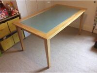 Solid Maple Wood And Tempered Glass Dining Kitchen Office Desk Table