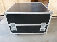 Large Black Flight Case Square on Wheels Storage Foam Padded 5 Star Cases