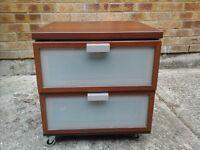 2 draw cabinet on wheels