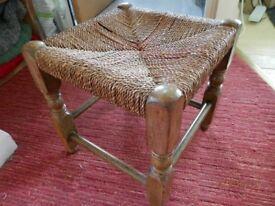 Vintage Wicker Stool with Oak Frame