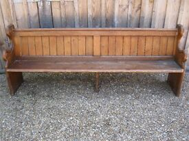 VICTORIAN CHURCH PEW. Delivery poss. Other pine pews, benches, settles & chapel chairs for sale
