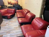 EXTRA LARGE Red Leather Corner Sofa