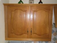 SOLID WOOD KITCHEN CABINET DOORS, 3 DRAWER FRONTS, 2 END PANELS AND KICKBOARDS