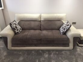 DFS 3+2+1 REAL PART LEATHER/UPHOLSTERY SOFA SUITE, 3 SEATER, 2 SEATER & FOOTSTOOL, INC 4 CUSHIONS