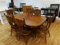 Solid wood dining table and six chairs beautiful carved design in chairs