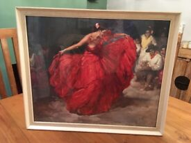 "Vintage Framed Print ""The Red Skirt"" F.R.S Clemente Original Print"