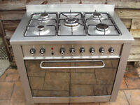 Indesit duel fuel stainless steel range cooker
