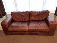Free delivery - Hastings Real Leather 3 seater Sofa.