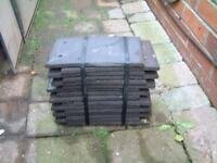 3 packs of grey roofing tiles. 14 tiles per pack, willing to separate