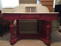 (Price reduced!) Marble topped painted wooden washstand