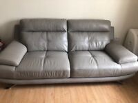 Harvey's 3 seater grey leather sofa