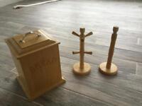 Wooden bread bin, mug tree and kitchen towel holder