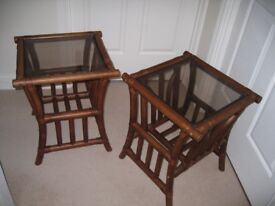 Two identical bamboo framed side tables