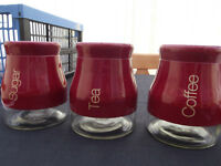 Tea, Coffee, Sugar Canisters /Storage Jars - NEW