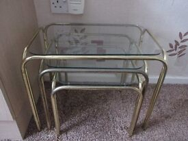 nest of 3 glass tables with brass effect edging