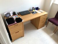 John Lewis Abacus desk with draws + 2 draw hanging file pedestal + 2 door cupboard