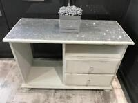 Glitter topped shabby chic white tv stand with crystal handles
