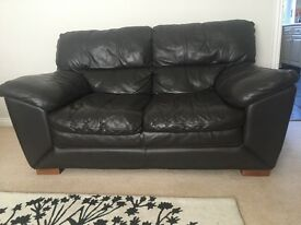 Brown leather 3 seater, 2 seater and footstool from DFS