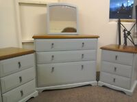 Chest of drawers and pair of bedside cabinets