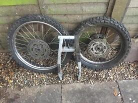 Motor cycle wheels & swinging arm