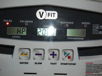 V Fit treadmill variuos programs and speeds from 1.1 to 8