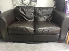 2 x 2 Seater Brown Leather Sofas & Footstool